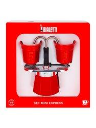 Bialetti Mini Express Набор: гейзерная кофеварка красная на 2 порции + 2 чашки