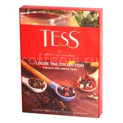 Tess коллекция 9 вкусов черного и зеленого листового чая 350 гр